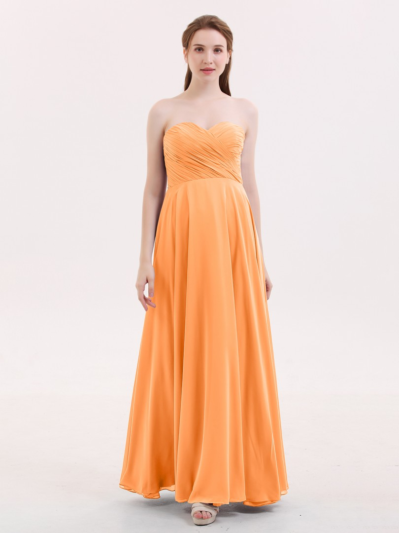 979a6a5df2d7 Orange Wendy Strapless Sweetheart Maxi Bridesmaid Dress | BABARONI