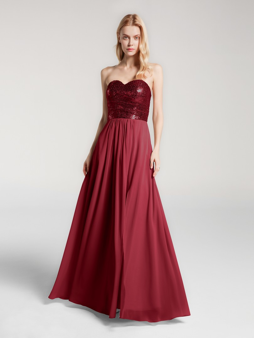 A-line No Burgundy Zipper Pleated Floor-length Sweetheart Sleeveless Long Bridesmaid Dresses