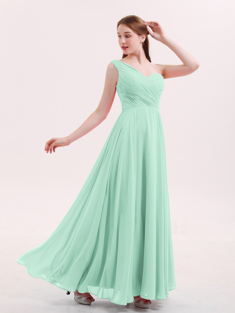 A-line Chiffon Watermelon Zipper Pleated Floor-length One Shoulder Sleeveless Long Bridesmaid Dresses