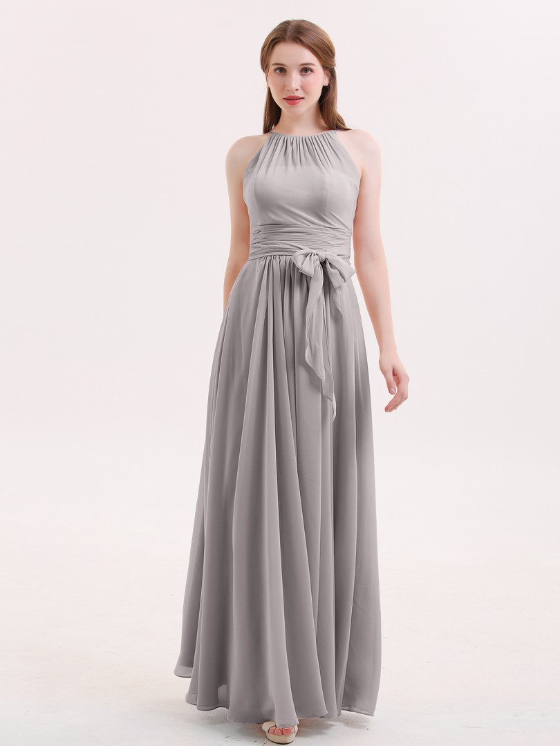 A-line Chiffon Dusty Rose Zipper Sash Floor-length Halter Sleeveless Long Bridesmaid Dresses