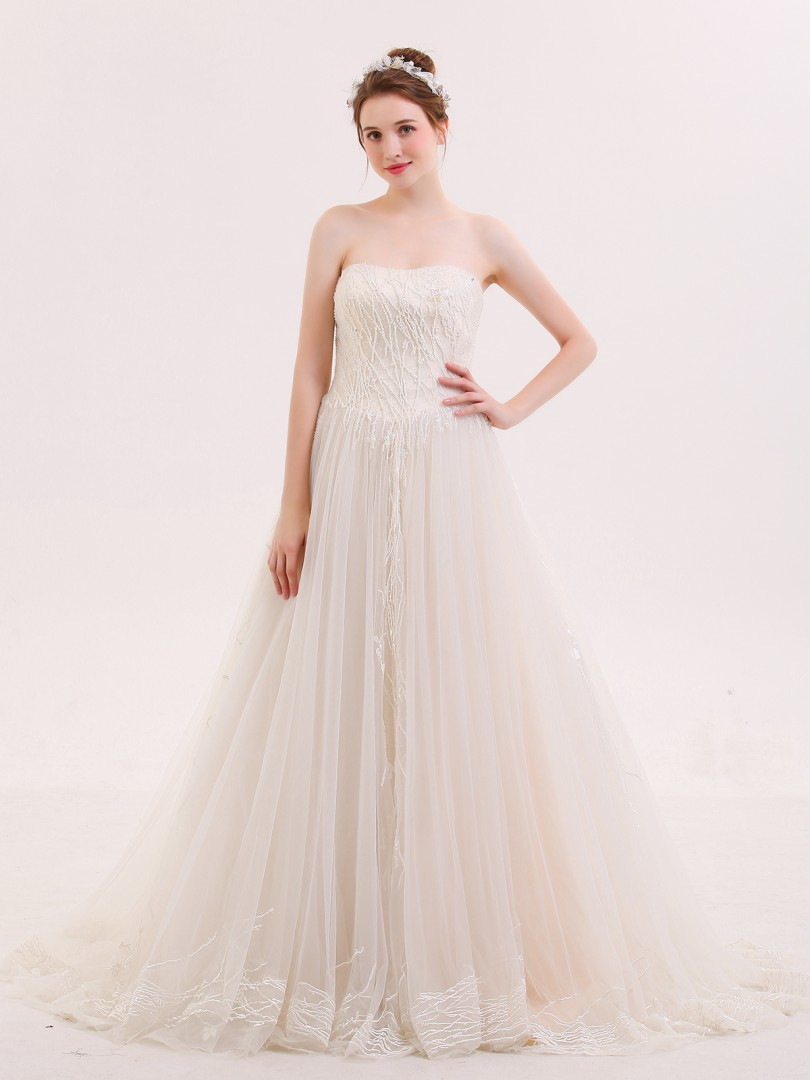 A-line Tulle Champagne Lace-up Beaded Sweep/Brush Train Strapless Sleeveless Colored Wedding Dresses