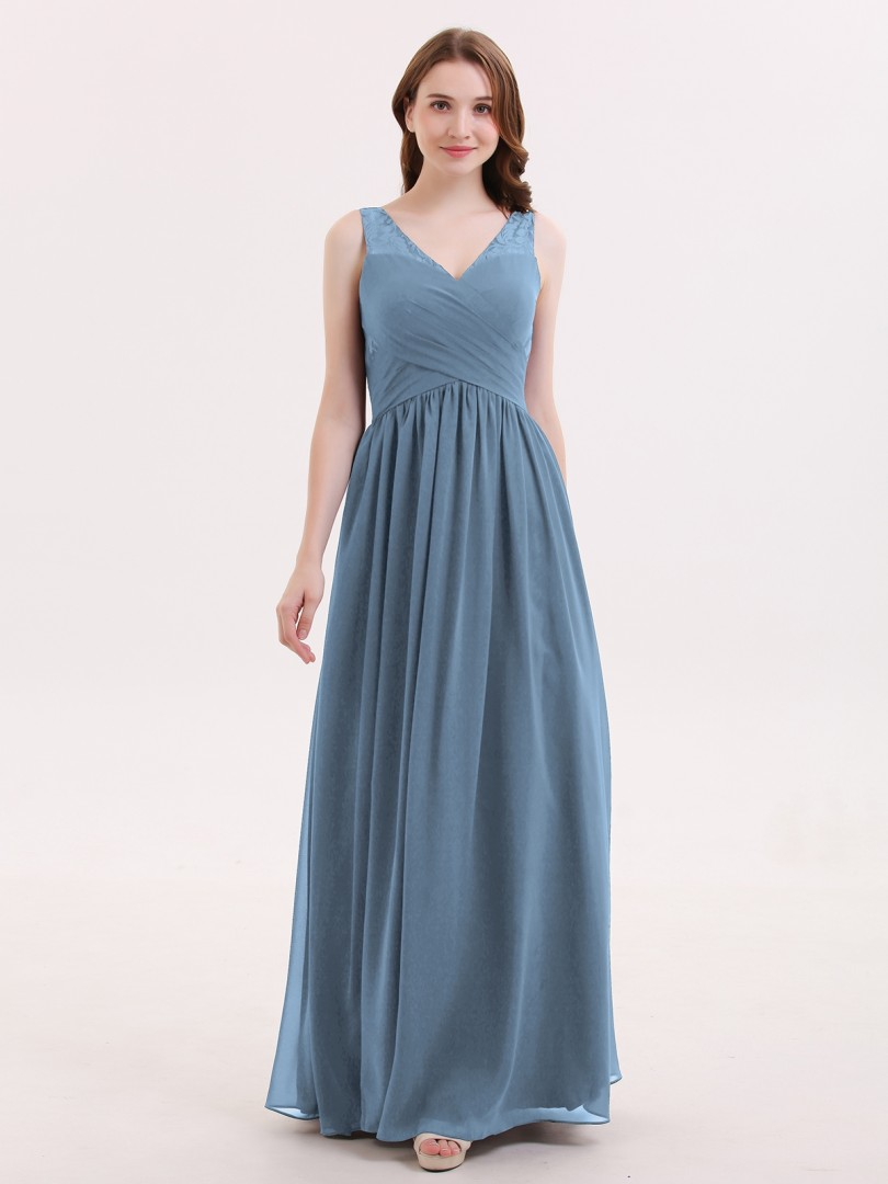 A-line Chiffon Burgundy Zipper Lace, Ruched, Pleated Floor-length V-neck Sleeveless Long Bridesmaid Dresses