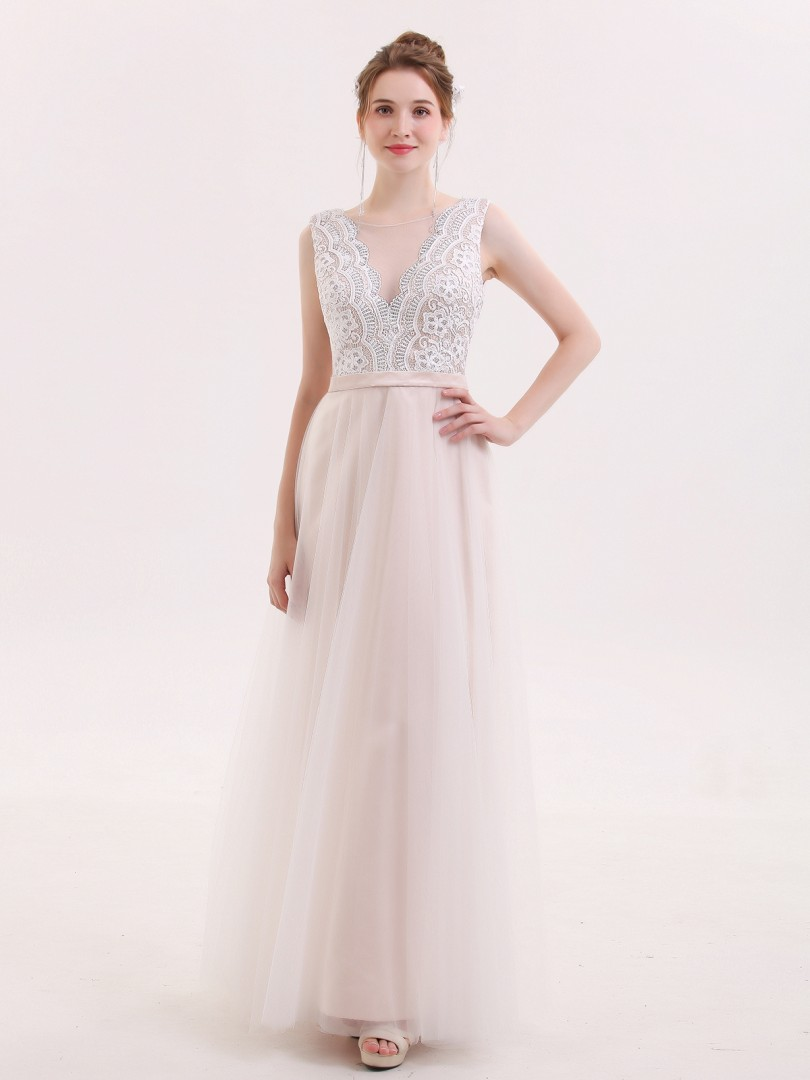 A-line Tulle Champagne Zipper Lace Floor-length Scoop Sleeveless Prom Dresses
