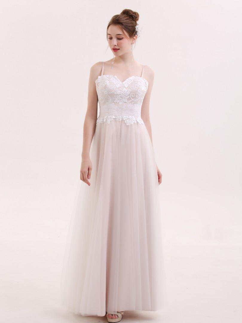 A-line Tulle Champagne Zipper Appliqued, Bow, Pleated Floor-length Sweetheart Spaghetti Straps Simple Wedding Dresses