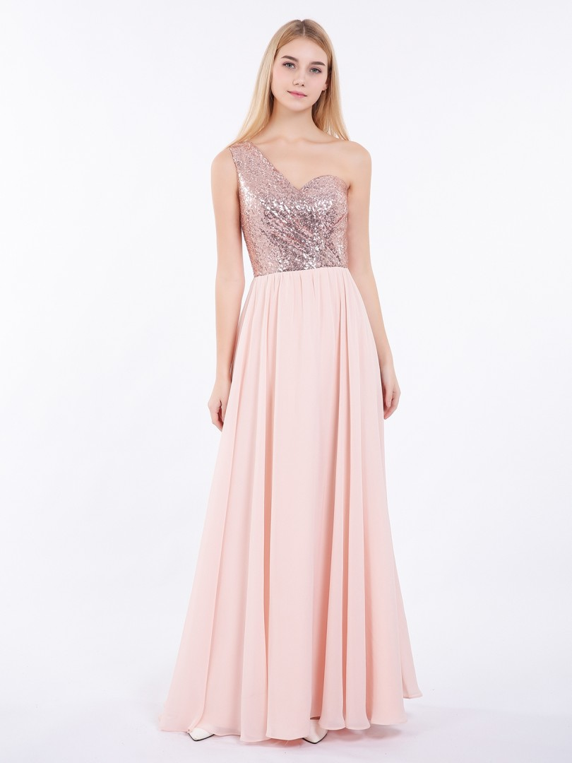 A-line Sequin Rose Gold Criss-Cross Straps Ruched Floor-length One Shoulder Sleeveless Prom Dresses