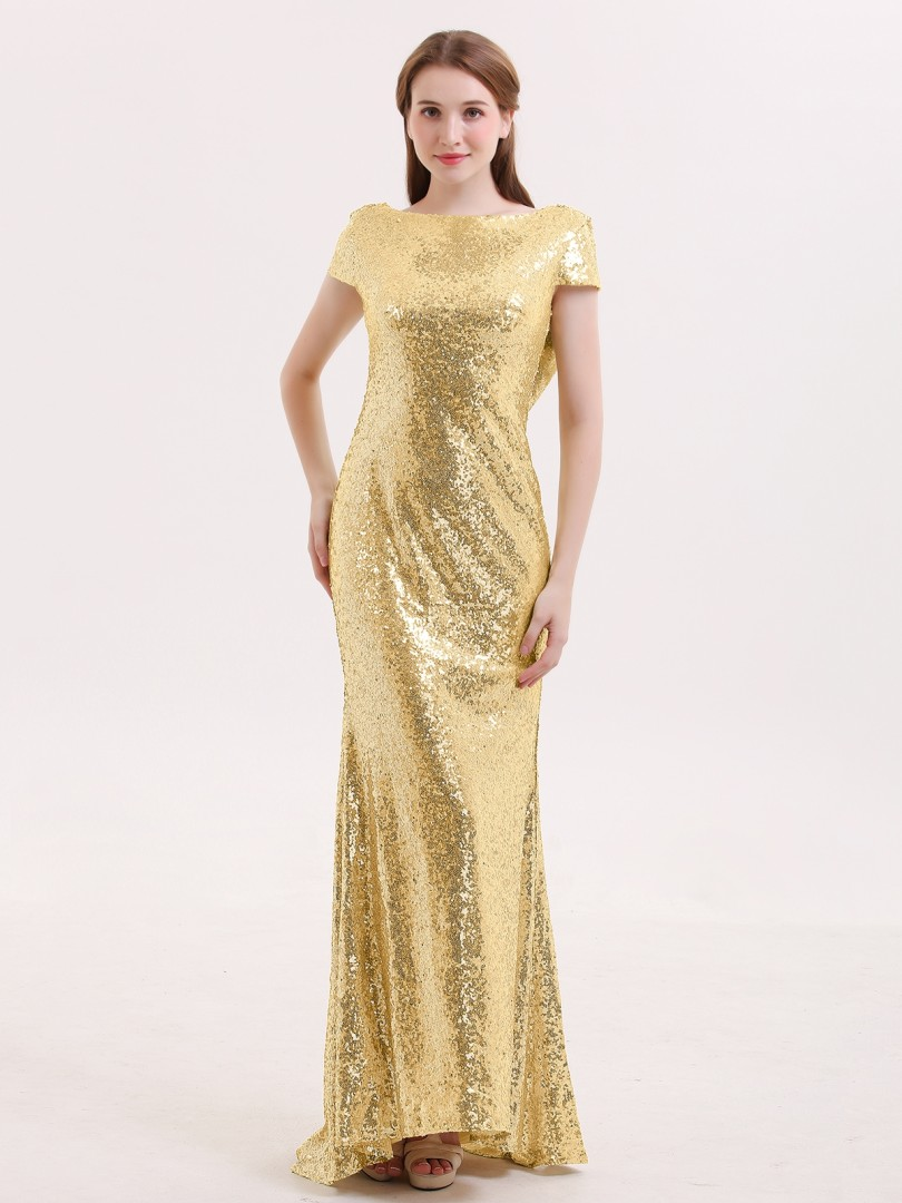 Sheath/Column Sequin Gold Zipper Sequins Sweep/Brush Train Bateau Short Sequins Bridesmaid Dresses