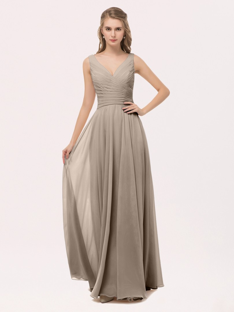 taupe cassiopeia v neck long chiffon dress with bow | babaroni