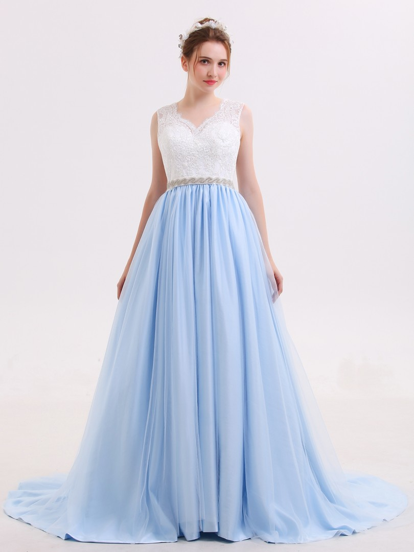 Ball Gown Tulle Sky Blue No Lace, Rhinestone, Sash Sweep/Brush Train Scoop Sleeveless Colored Wedding Dresses
