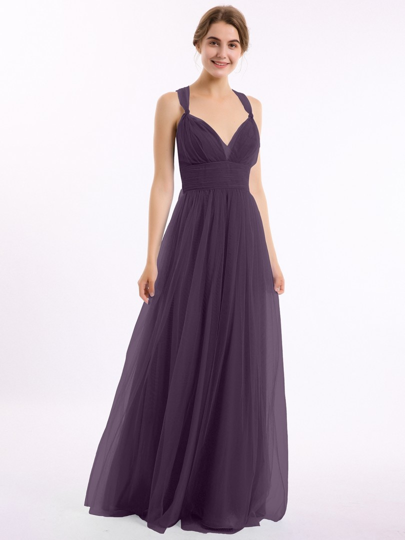 A-line Tulle Candy Pink Criss-Cross Straps Bow, Ruched Floor-length V-neck Straps Tulle Bridesmaid Dresses