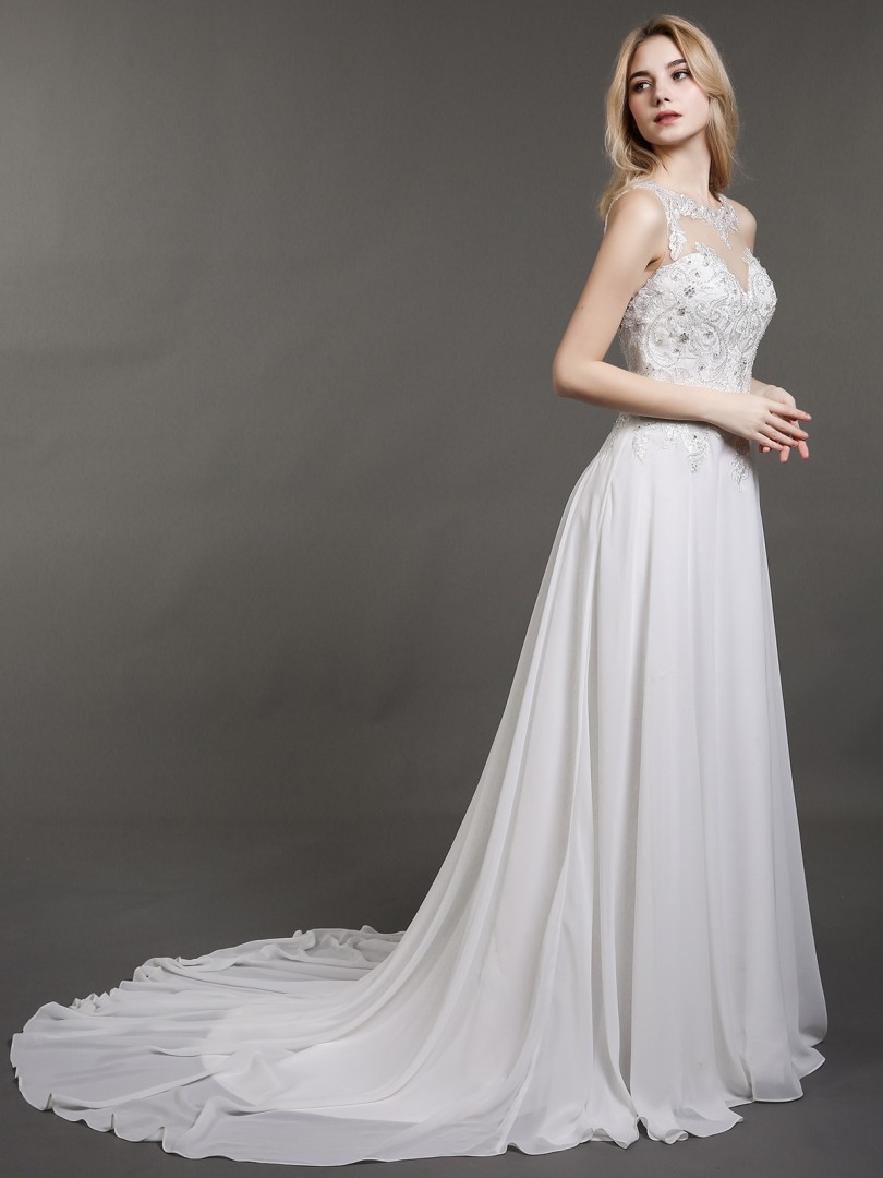 A-line Chiffon Ivory Zipper Appliqued, Beaded Sweep/Brush Train Illusion Sleeveless Lace Wedding Dresses