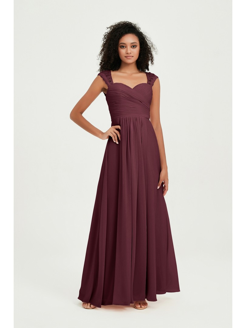A-line Chiffon Dark Green Zipper Lace, Ruched, Pleated Floor-length Sweetheart Cap Sleeve Long Bridesmaid Dresses