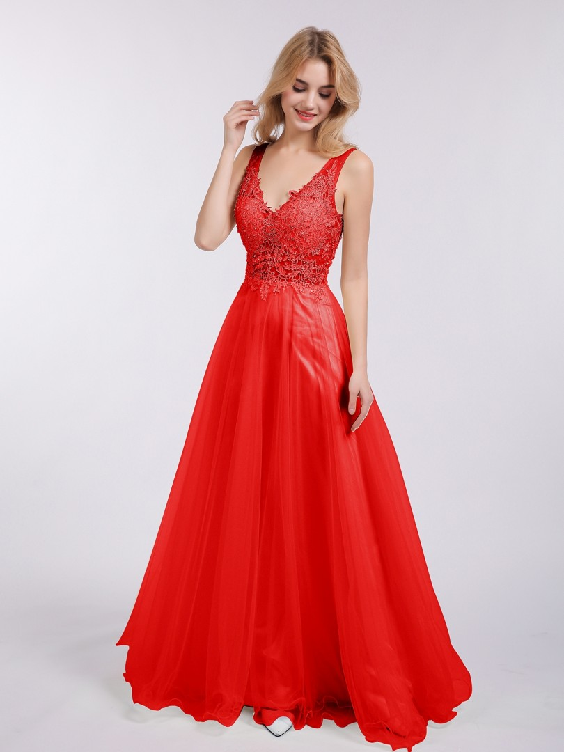 A-line Tulle Champagne Backless  Floor-length V-neck Sleeveless New Arrivals