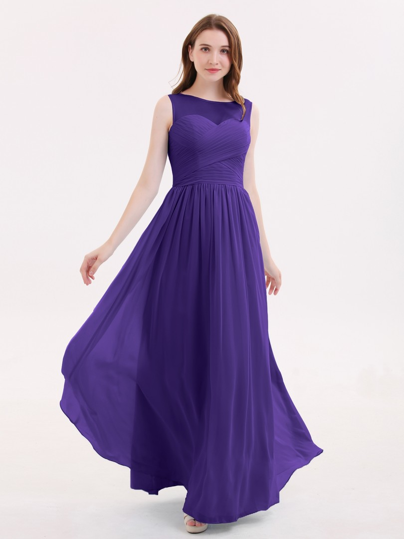 fe6b8aef3103 A-line Chiffon Lilac Zipper Pleated Floor-length Illusion Sleeveless Long  Bridesmaid Dresses. Loading zoom