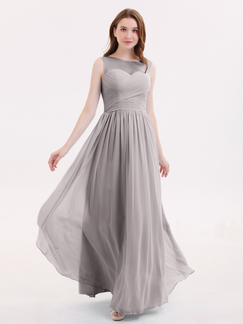A-line Chiffon Lilac Zipper Pleated Floor-length Illusion Sleeveless Long Bridesmaid Dresses