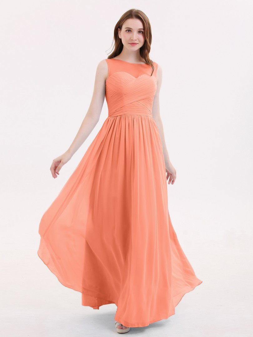 A-line Chiffon Lilac Zipper Pleated Floor-length Illusion Sleeveless Bridesmaid Dresses