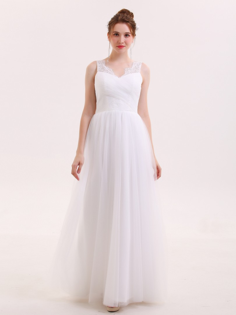 A-line Tulle White Zipper Ruched, Pleated Floor-length V-neck Sleeveless Beach Wedding Dresses