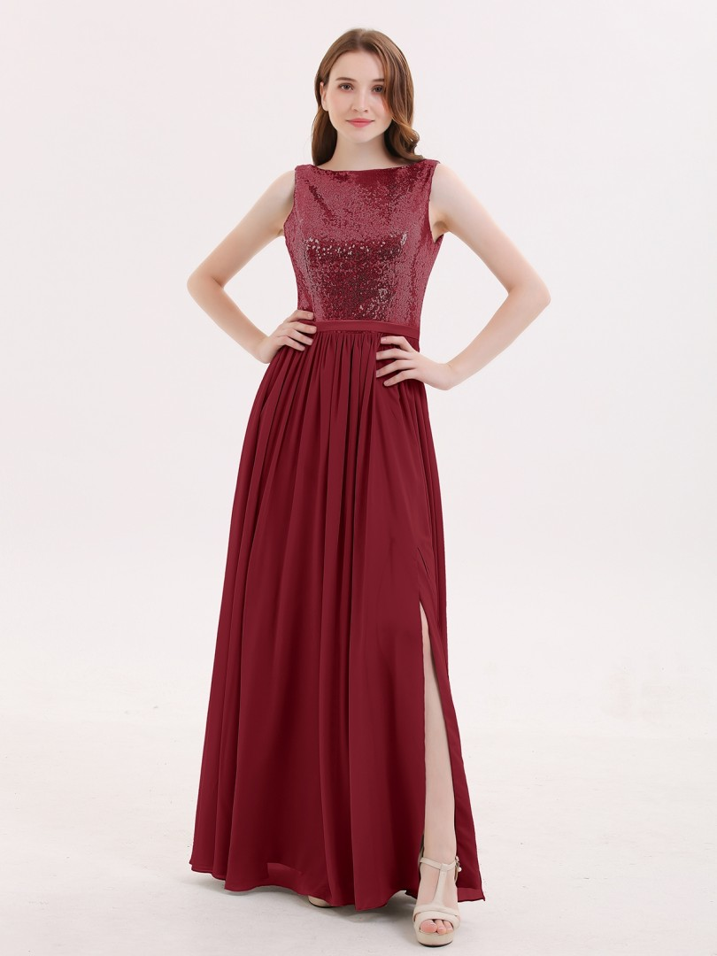 A-line Sequin Silver Zipper Ruched Floor-length Bateau Sleeveless Bridesmaid Dresses