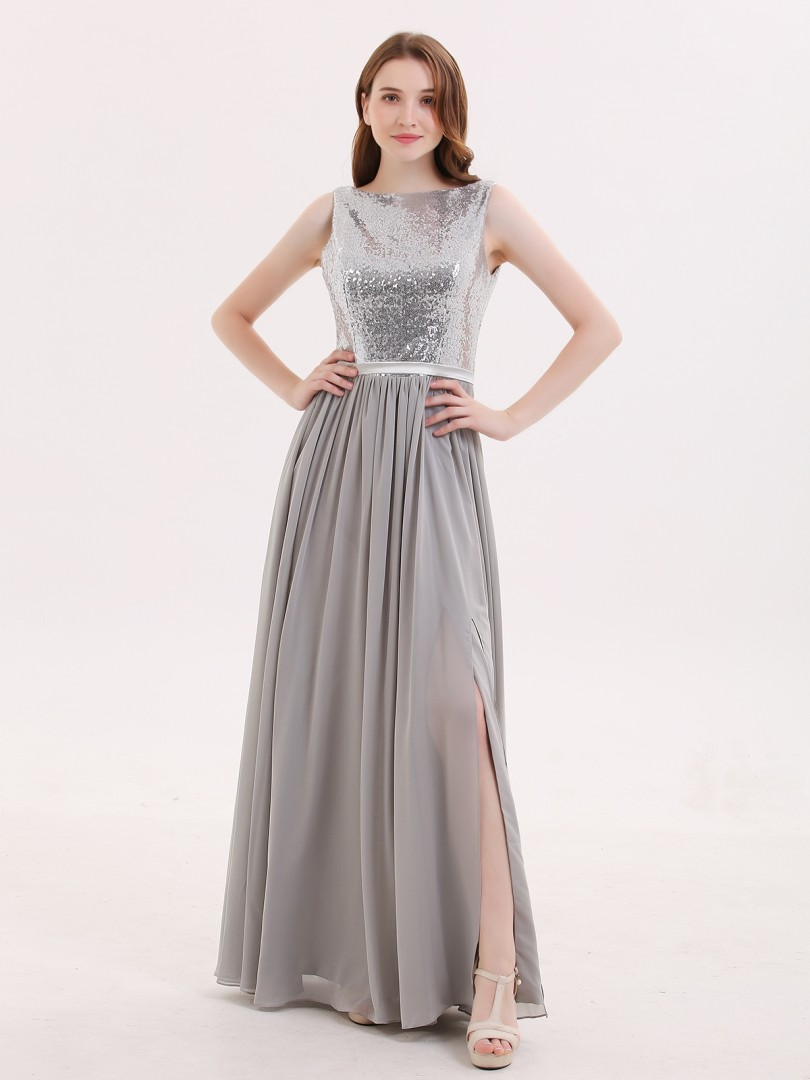 A-line Sequin Silver Zipper Ruched Floor-length Bateau Sleeveless Long Bridesmaid Dresses