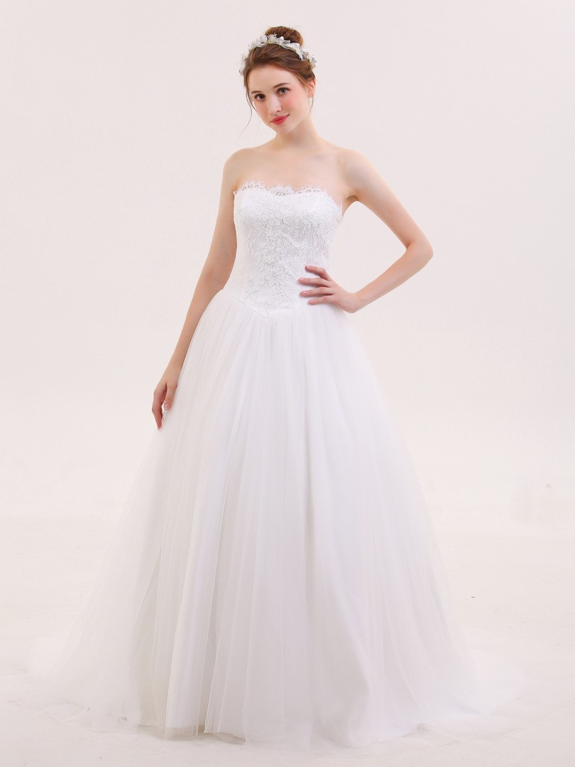 A-line Tulle Ivory Lace-up Lace, Ruched Sweep/Brush Train Strapless Sleeveless Wedding Dresses