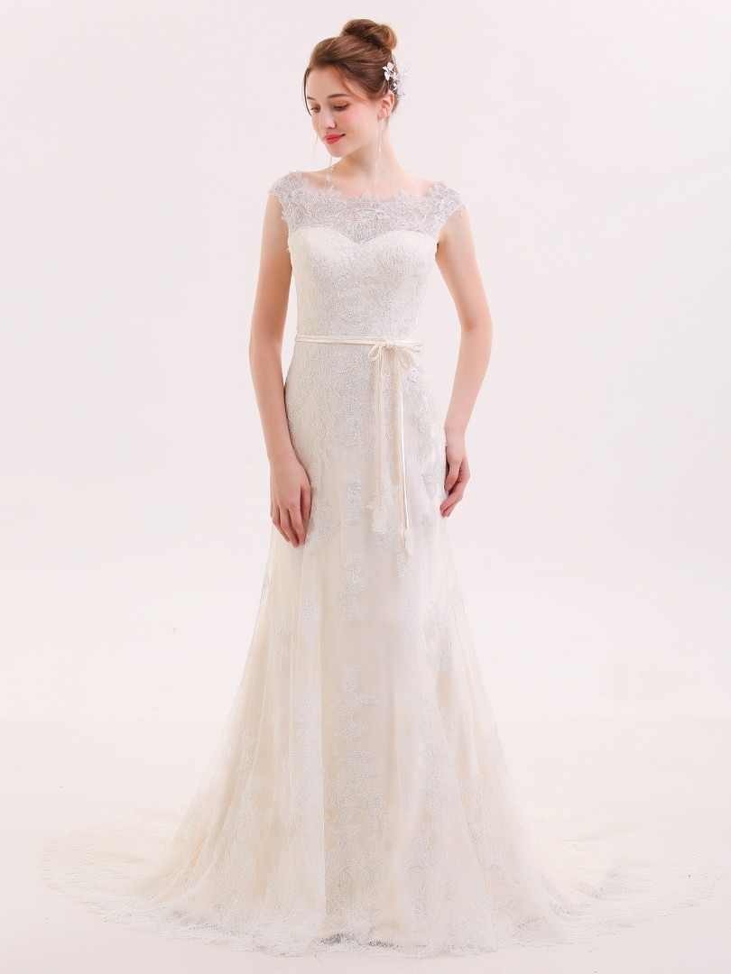 Sheath/Column Tulle Champagne Zipper  Sweep/Brush Train Bateau Sleeveless Wedding Dresses