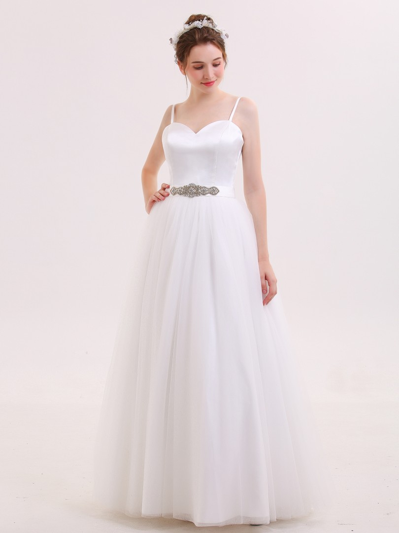 A-line Tulle Ivory Zipper Rhinestone, Sash Floor-length Sweetheart Spaghetti Straps Simple Wedding Dresses
