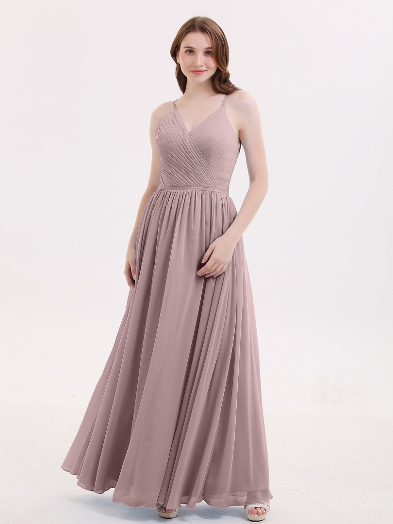 A-line Chiffon Dusty Blue Zipper Ruched, Pleated Floor-length V-neck Spaghetti Straps Bridesmaid Dresses