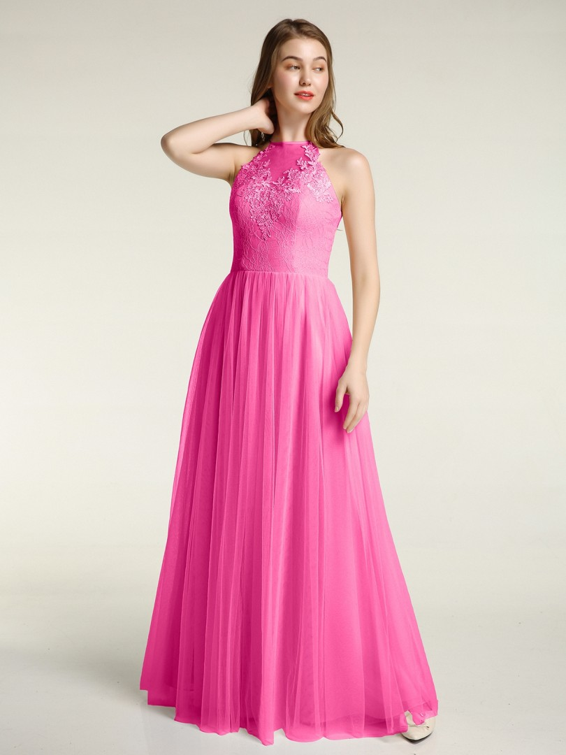 A-line Tulle Azalea Zipper Appliqued Floor-length Halter Sleeveless Prom Dresses