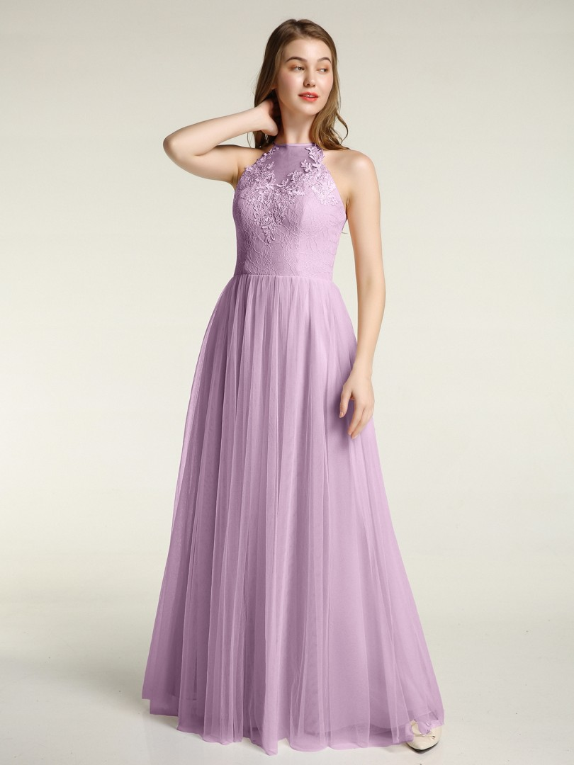 A-line Tulle Azalea Zipper Appliqued Floor-length Halter Sleeveless New Arrivals