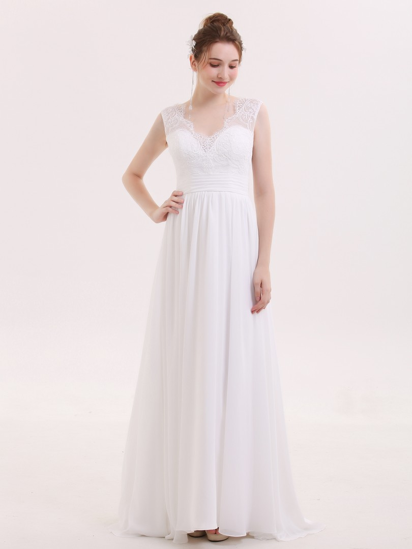 10df7054220 Babaroni Veromca V-neck Chiffon Beach Wedding Dress with Bow
